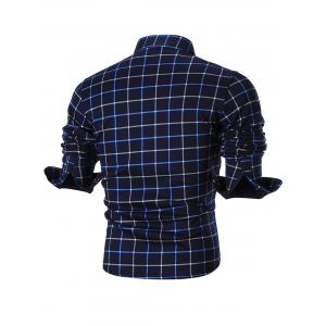Plush-lined Pocket Checkered Long Sleeve Shirt - BLUE XL