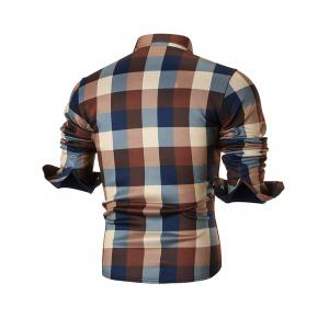 Chest Pocket Fleece-lined Plaid Shirt - COFFEE 4XL