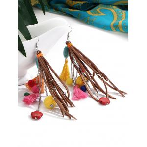 Turquoise Colorful Tassel Balls Drop Earrings -
