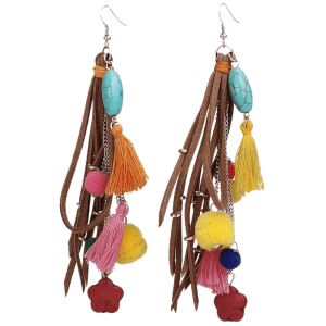 Turquoise Colorful Tassel Balls Drop Earrings - COLORFUL