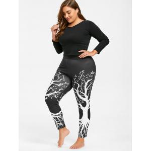 Plus Size Tree Printed Running Leggings - BLACK XL