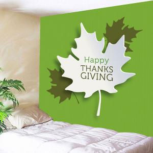 Thanks Giving Maple Leaves Print Wall Art Tapestry - GREEN W59 INCH * L51 INCH