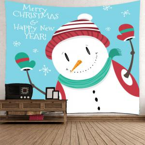 Wall Art Christmas Happy Snowman Pattern Tapestry - WHITE W59 INCH * L51 INCH