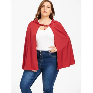 Plus Size Long Hooded Cape - RED XL