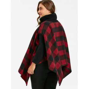 Plus Size Plaid Turtleneck Poncho Coat - RED 2XL