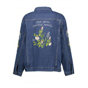 Plus Size Floral Embroidered  Denim Jacket -