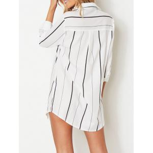Shirt Collar Striped Shirt with Pocket - WHITE S