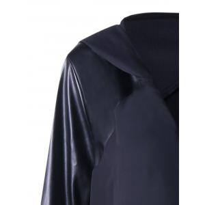 PU Leather Panel Hooded Duster Coat - BLACK 4XL