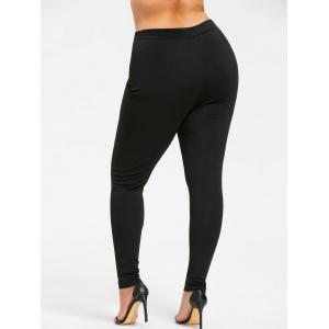 Plus Size Double Breasted Tight Pants - BLACK 4XL