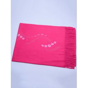 Vintage Small Flower Embroidery Fringed Long Scarf -