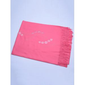 Vintage Small Flower Embroidery Fringed Long Scarf - WATERMELON RED