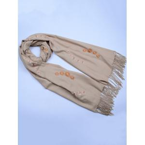 Vintage Small Flower Embroidery Fringed Long Scarf - KHAKI