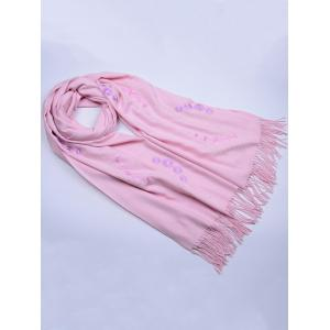 Vintage Small Flower Embroidery Fringed Long Scarf - LIGHT PINK