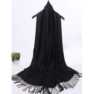 Soft Artificial Cashmere Fringed Long Scarf - BLACK