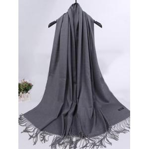 Soft Artificial Cashmere Fringed Long Scarf - DARK KHAKI