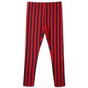Plus Size Vertical Striped Pants - RED WITH BLACK XL