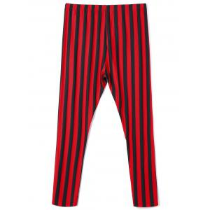 Plus Size Vertical Striped Pants - RED WITH BLACK 3XL