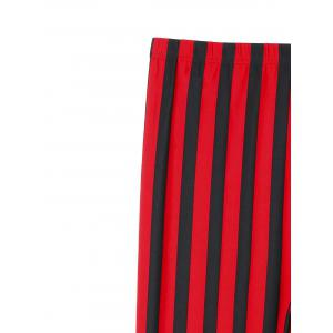 Plus Size Vertical Striped Pants - RED WITH BLACK 4XL