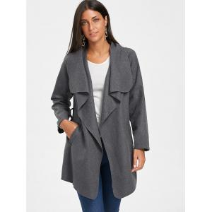 Belted Tunic Draped Wool Coat - DARK GRAY L