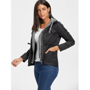 Hooded Faux Twinset Double Zipper Jacket - BLACK L