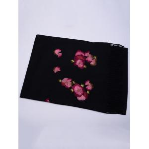 Vintage  Floral Embroidery Ethinc Style Fringed Scarf - BLACK