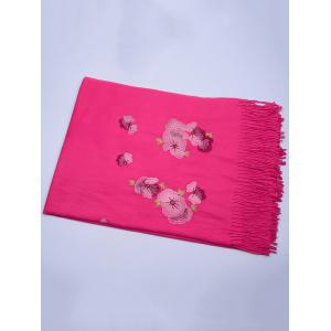Vintage  Floral Embroidery Ethinc Style Fringed Scarf - TUTTI FRUTTI