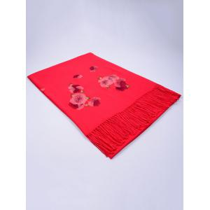 Vintage  Floral Embroidery Ethinc Style Fringed Scarf - BRIGHT RED