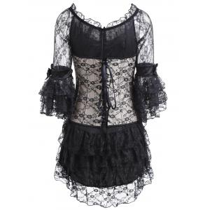 Renaissance Corset Top and Sheer Ruffles Dress - COLORMIX S