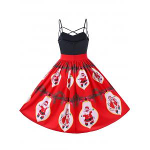 Christmas Santa Claus Strappy 50s Swing Dress - RED L