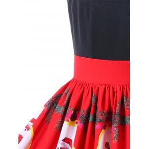 Christmas Santa Claus Strappy 50s Swing Dress - RED 2XL