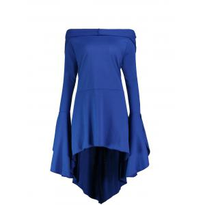 Flare Sleeve Long Plus Size High Low Hoodie - BLUE 2XL