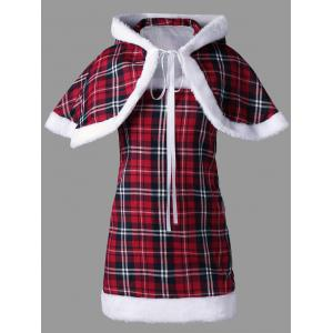 Plaid Hooded Capelet with Tube Dress - CHECKED M