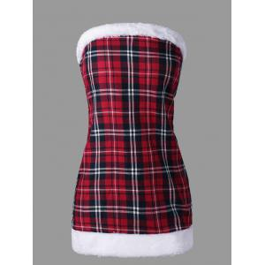 Plaid Hooded Capelet with Tube Dress -