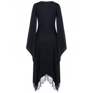 Halloween V Neck Bell Sleeve Longline Dress -