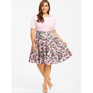 Plus Size Floral Print Boat Neck Dress -