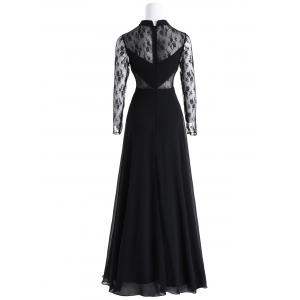 Bowknot Lace Insert Maxi Prom Evening Dress -