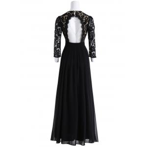 Keyhole Floral Lace Maxi Formal Evening Dress -