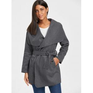 Belted Tunic Draped Wool Coat -