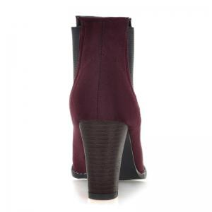 Elasticized Side Panels Chunky Heel Boots -