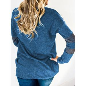 Color Block Sleeve Round Neck Sweatshirt -