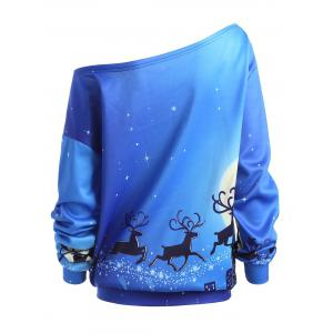 Plus Size Christmas Day ELK Sweat à col en biais -