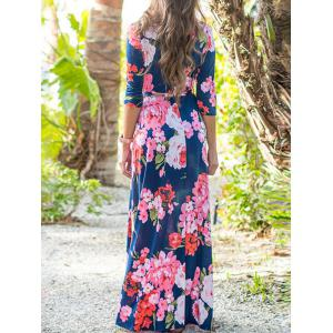 Flower Print Maxi Dress with Belt -