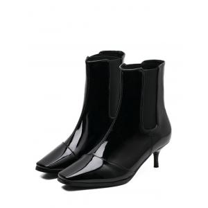 Elastic Band Square Toe Ankle Boots -