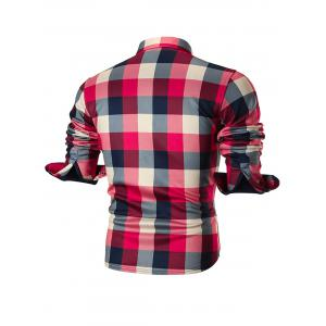 Chest Pocket Fleece-lined Plaid Shirt -