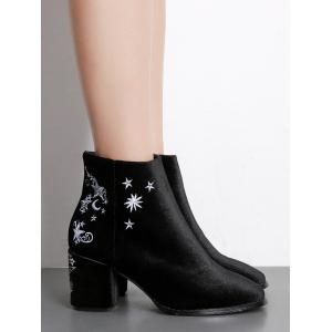 Moon Stars Embroidery Ankle Boots -
