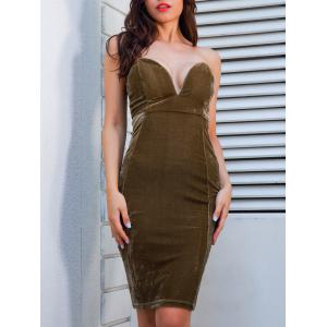 Plunging Neckline Velvet Strapless Tight Dress -