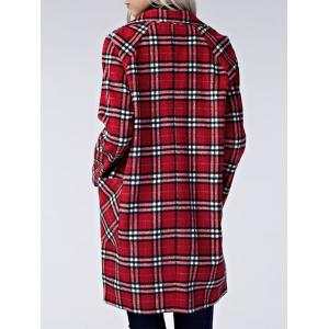 Plaid Lapel Long Coat with Pockets -