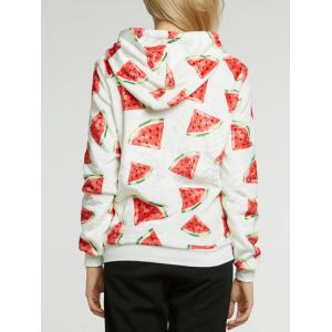 Watermelon Print Fleece Drawstring Hoodie -