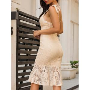 Backless Knee Length Cami Lace Bodycon Dress -