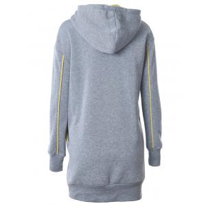 Lip Embroidered Drop Shoulder Longline Hoodie -